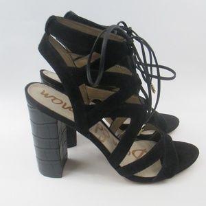 Sam Edelman Yardley Lace Up Suede Heeled Sandals
